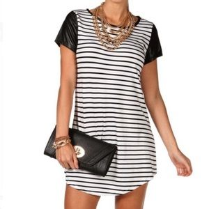 WINDSOR striped mini dress leather sleeves L